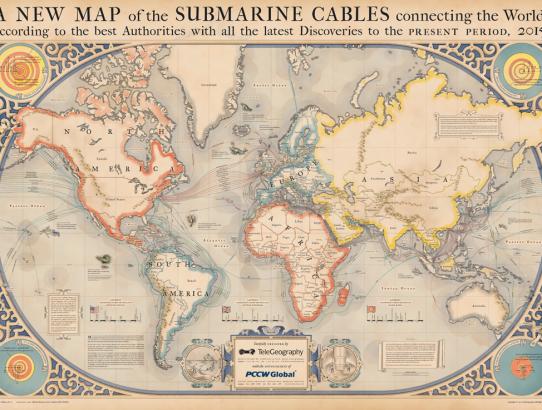 Veja todos os cabos de rede submarinos no mundo.